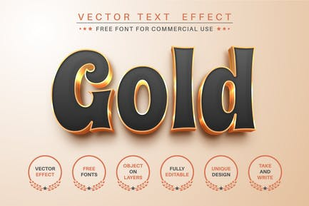 Gold - Editable Text Effect, Font Style