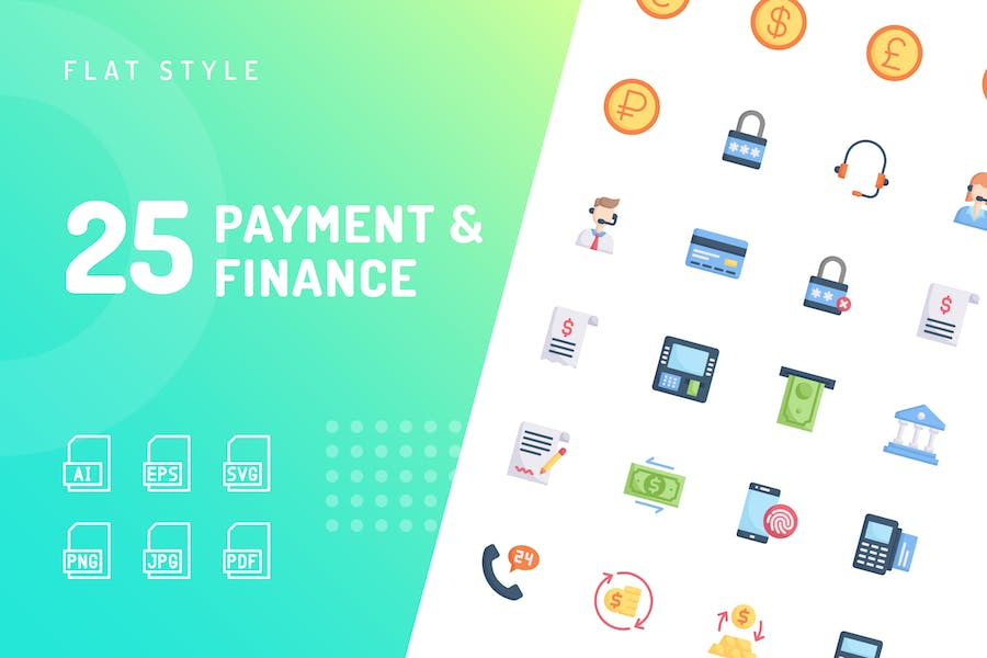 Payment & Finance Flat Icons