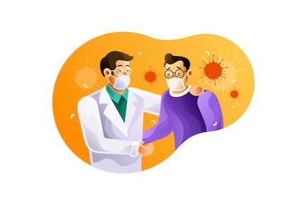 Doctors and coronavirus patients use masks