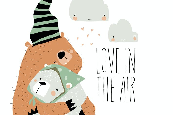 Thumbnail for Vector valentine love designs with cute bears hugg