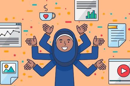 Muslim Female IT Specialist Illustration