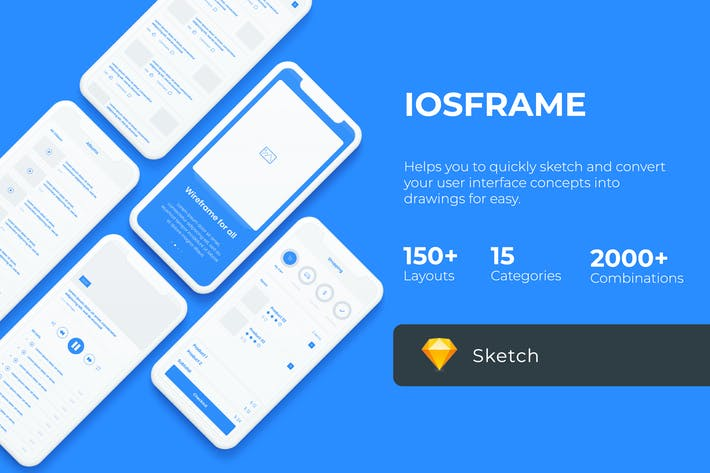 Cover Image For iOS Wireframe Mobile UIT KIT - Sketch Version