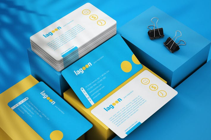 Business Cards With Rounded Corners Mockup