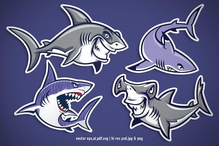 Thumbnail for set cartoon of vector shark character
