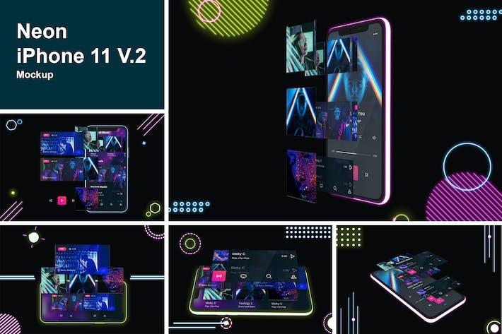 Thumbnail for Neon iPhone 11 Mockup V.2