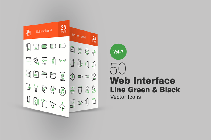 Thumbnail for 50 Web Interface Line Green & Black Icons