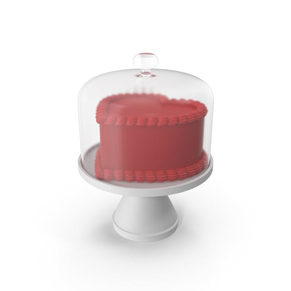 Valentines Day Cake with Glass Dome