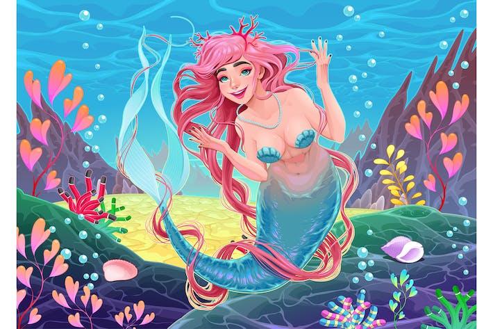 Thumbnail for Unterwasser-Meerjungfrau mit rosa Haaren und Korallen