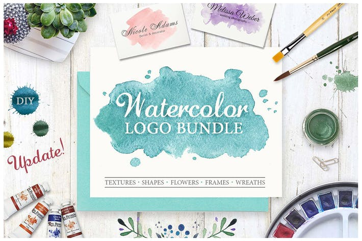 Thumbnail for Watercolor Logo Bundle. DIY