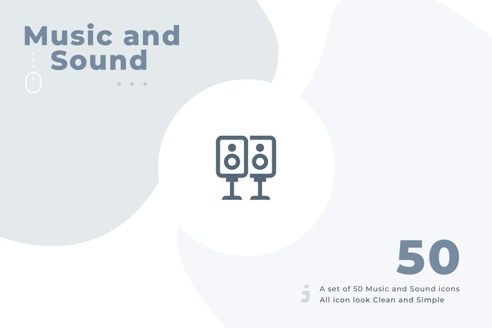 50 Music and Sound icon set - Material
