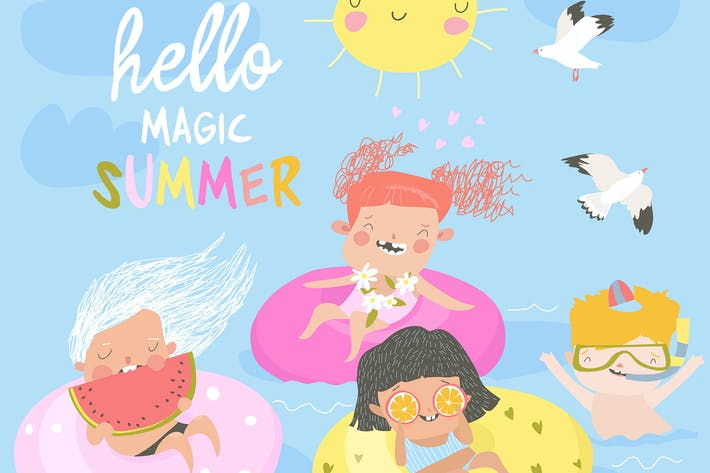Thumbnail for Kids having fun and swimming in the sea. Summer