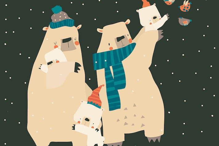 Thumbnail for Cute cartoon bears family hugging their cubs. Vect