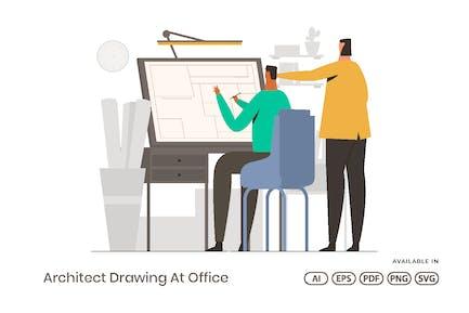 Dessin d'architecte au bureau