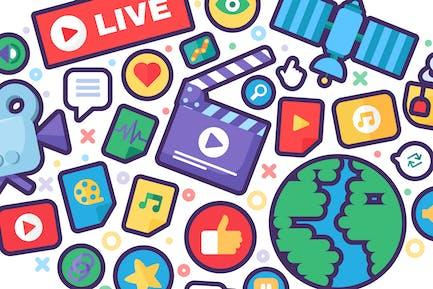 Banner mit Live-Streaming-Symbolen