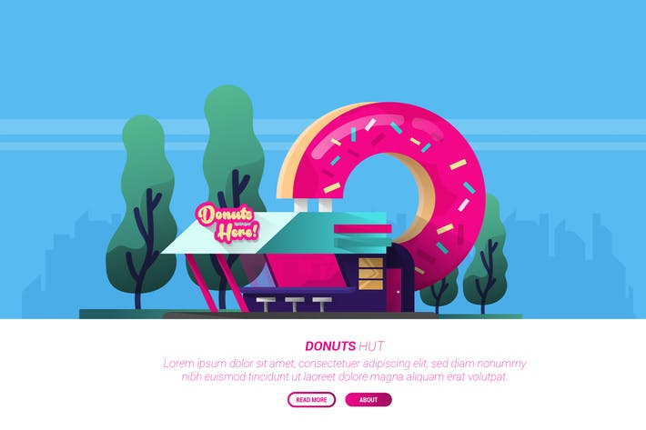 Thumbnail for Donut Hut - Vector Landscape & Building