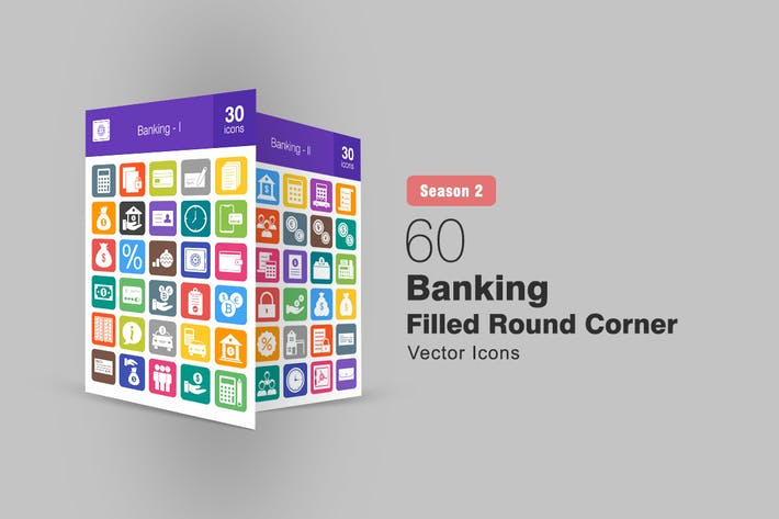 Thumbnail for 60 Banking Filled Round Corner Icons Season II