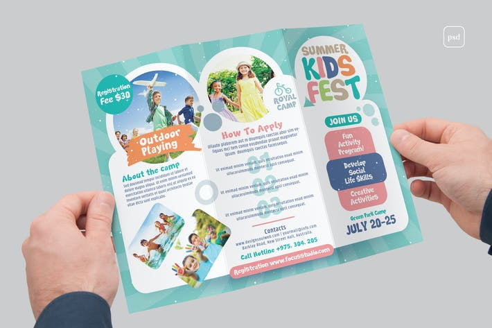 Thumbnail for Kids Summer Camp Trifold Broschüre