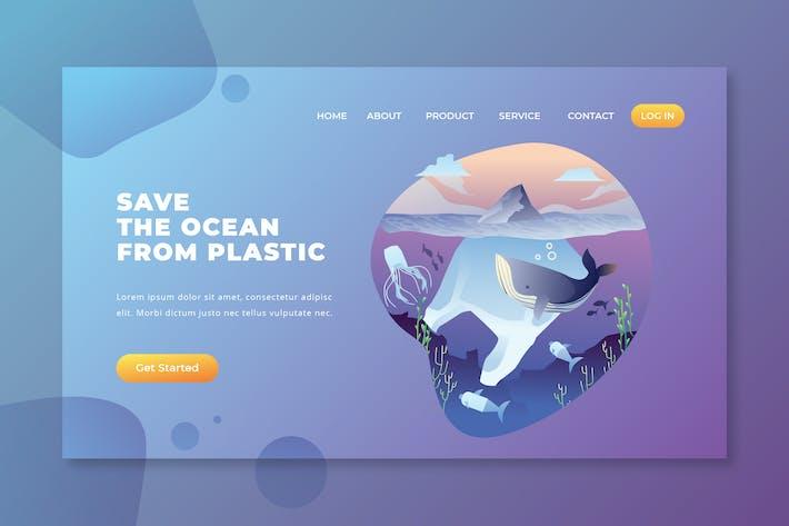 Thumbnail for Спасите океан от пластика - PSD AI Landing Page