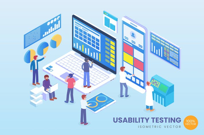 Thumbnail for Isometric Usability Testing Vector Concept