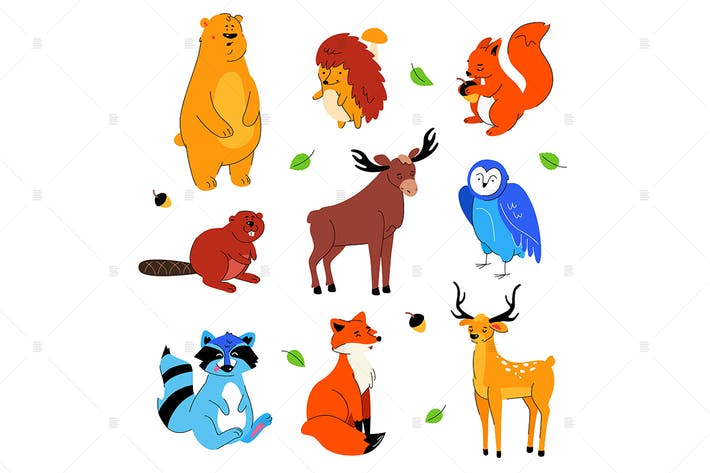 Thumbnail for Cute forest animals - set of cartoon characters