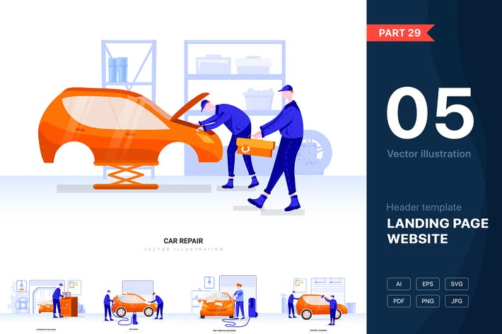 Thumbnail for Car Wash & Repair Vector Scenes