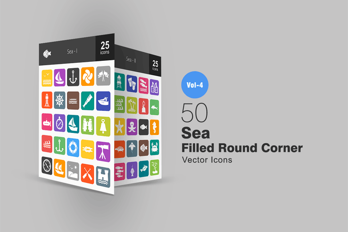 Thumbnail for 50 Sea Flat Round Corner Icons