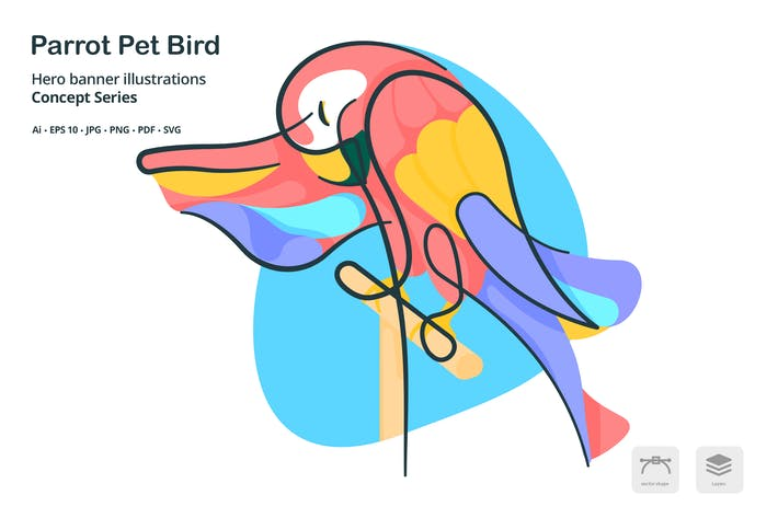 Thumbnail for Parrot Pet Bird Vector Illustration