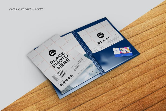 Thumbnail for Folder & Paper Mockup
