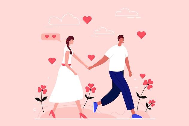 Love Couple Walking Hand in Hand