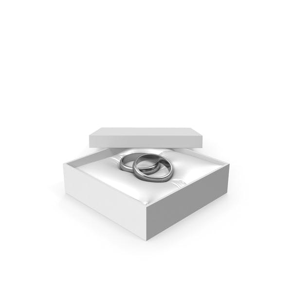 Wedding Silver Rings in a Gift White Box