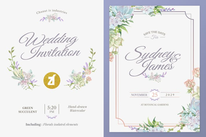 Thumbnail for Green succulent Watercolor Wedding Invitation