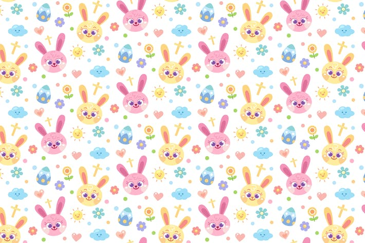 Thumbnail for Pastel Easter Bunny Seamless Pattern