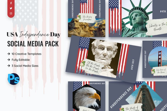 Thumbnail for USA Independence Day Social Media Template