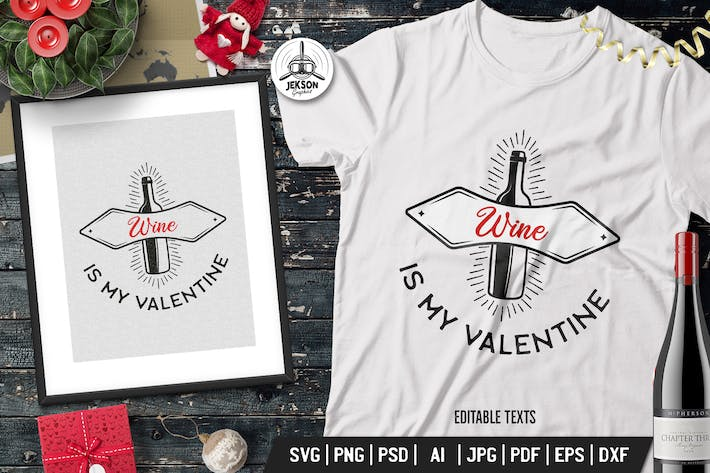 Cover Image For Funny Valentine Day Print Tshirt. Wine Vector Logo