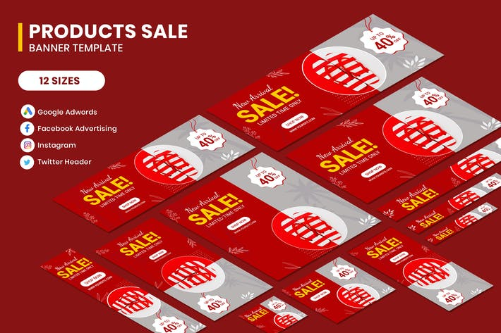 Thumbnail for Products Sale Google Adwords Banner Template