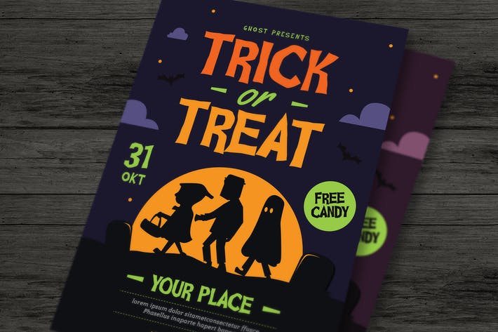 Thumbnail for Trick or Treat Halloween kids Flyer