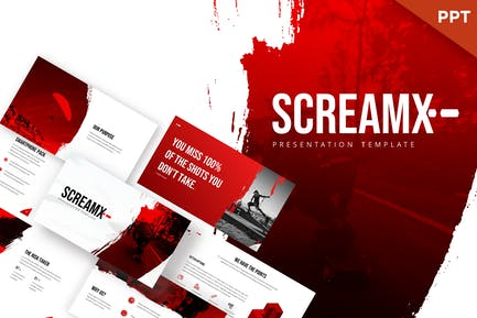 ScreamX - Шаблон Powerpoint кисти