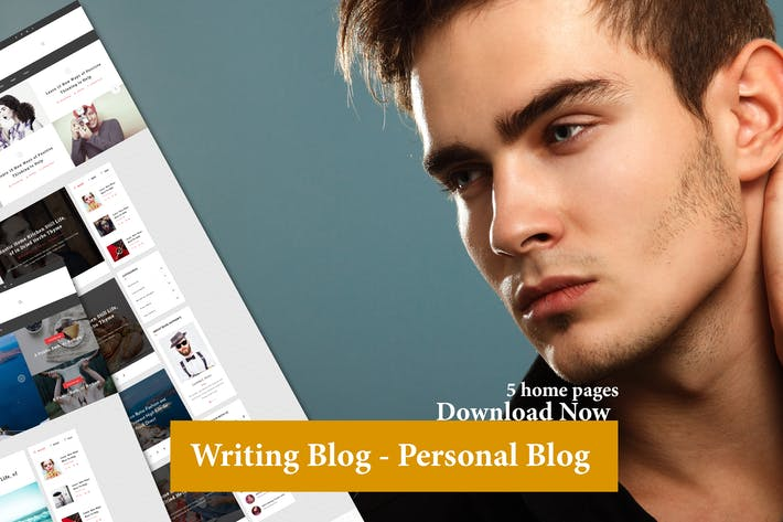 Thumbnail for 5 home with Writing Blog - Personal Blog Template