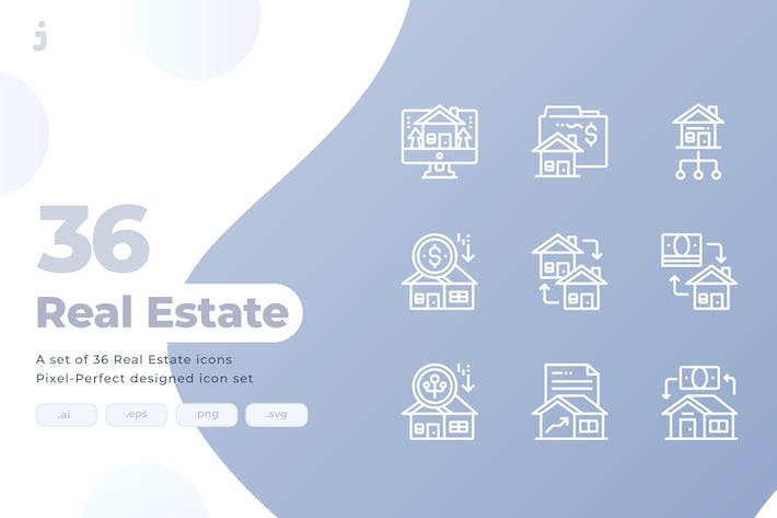 Thumbnail for 36 Property Investment and Real Estate Icons