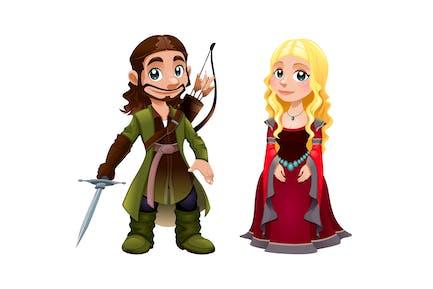 Mittelalterliches Paar Ritter und Prinzessin
