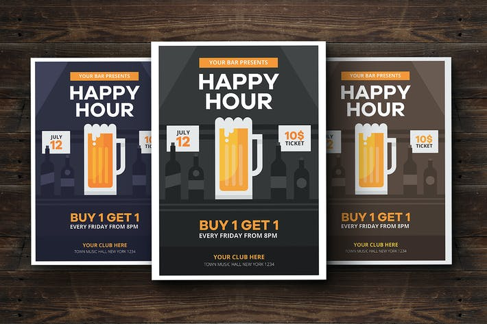 Thumbnail for Happy Hour Beer Promotion Flyer