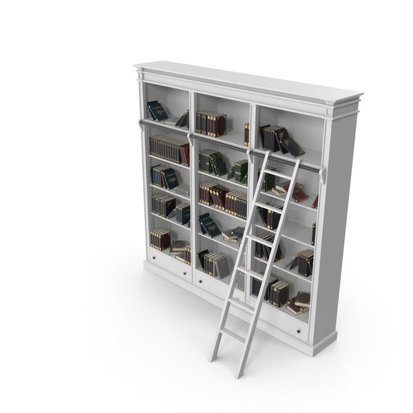 Thumbnail for Classic White Bookcase with Books