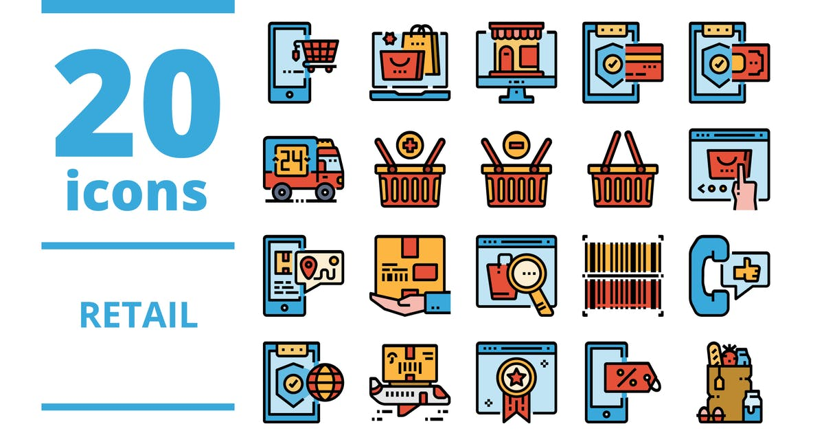 Download Retail Filled icons packs by linector