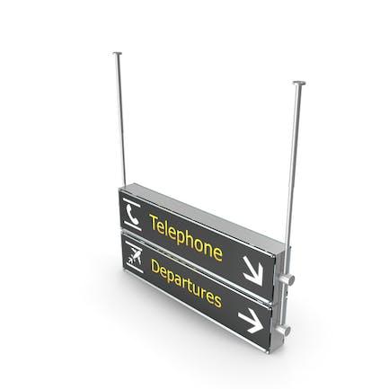 Flughafen Signs Telefon Abfahrten