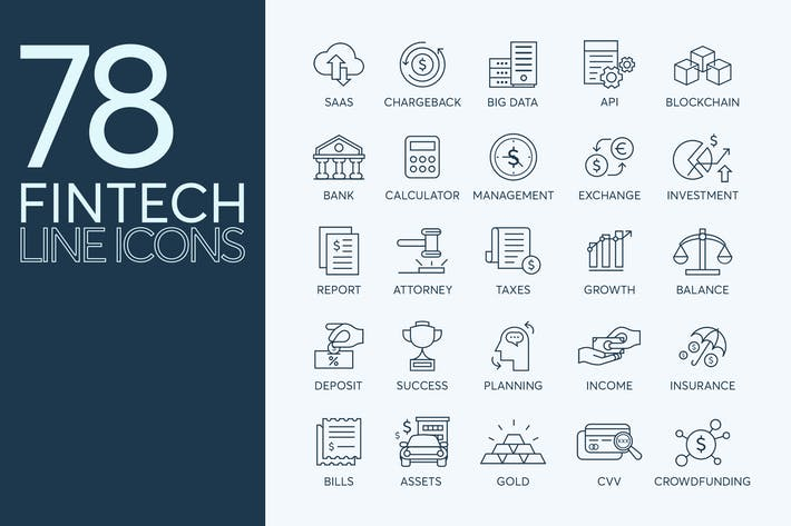 Thumbnail for 78 Fintech Line Icons