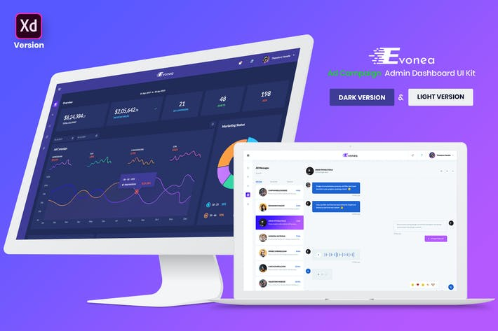 Thumbnail for Evonea - Ad Campaign Admin Dashboard UI Kit (XD)