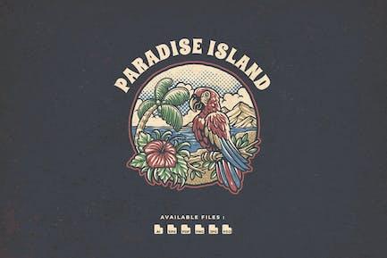 Paradise Island Vintage Hand drawn Logo