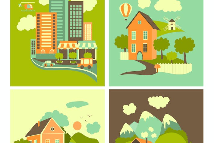 Thumbnail for Set of residential buildings. Urban, rural,