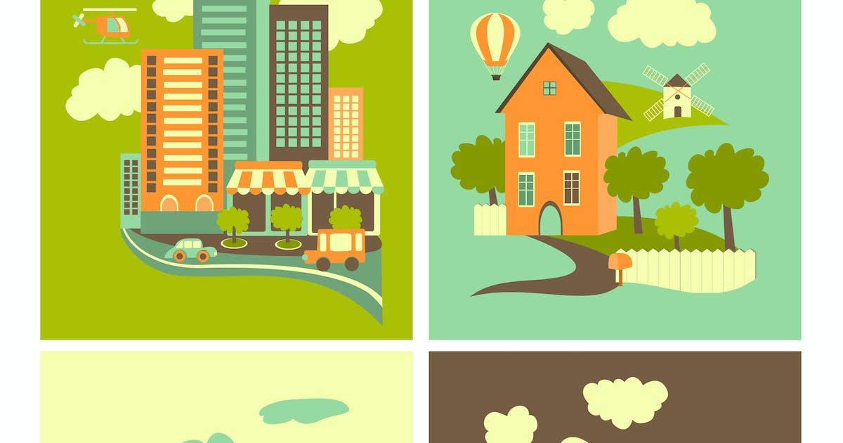 Download Set of residential buildings. Urban, rural, by masastarus