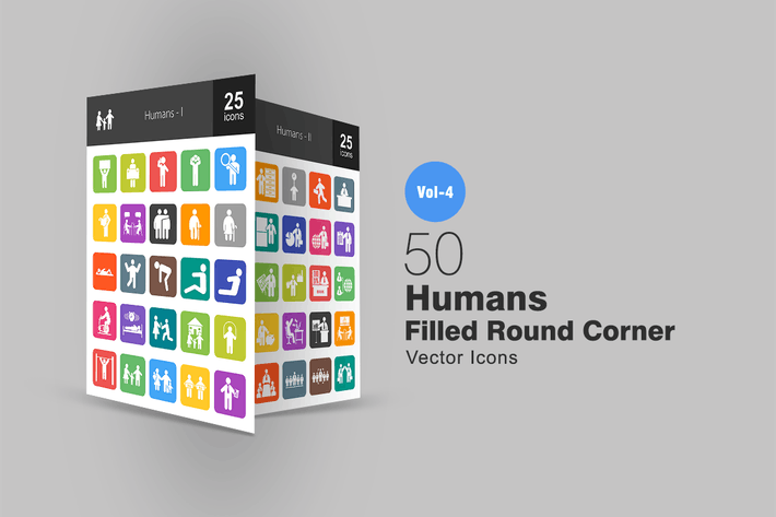 Thumbnail for 50 Humans Flat Round Corner Icons